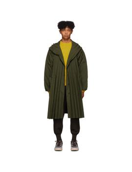 khaki-pleated-coat by homme-plissé-issey-miyake