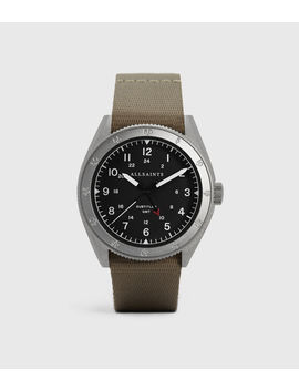 Subtitled Gmt Ii Stainless Steel And Grey Nylon Watch by Allsaints