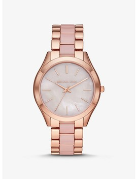 Oversized Slim Runway Rose Gold Tone And Acetate Watch by Michael Kors