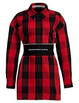 logo-elastic-belt-plaid-shirtdress by alexander-wang