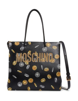logo-coin-print-faux-leather-tote by moschino
