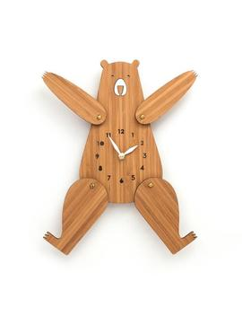 wall-clock-wood,-cute-bear-clock-with-numbers,-posable-arms-and-legs,-silent-clock-movement,-unique-gift-ideas by etsy