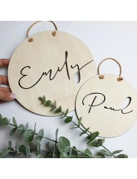 name-plate-ausgestanzt-personalized-baby-gift-wooden-sign-nursery-baby-room-ellizshop by etsy