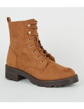 tan-suedette-lace-up-chunky-boots by new-look
