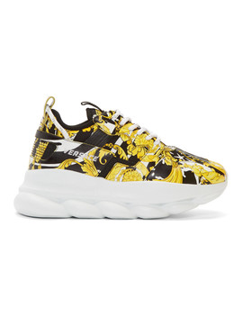 yellow-&-black-barocco-chain-reaction-sneakers by versace