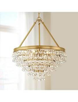 "Calypso 20""W Vibrant Gold And Crystal Teardrop Chandelier by Lamps Plus"