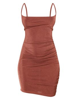 chocolate-brown-textured-slinky-strappy-ruched-bodycon-dress by prettylittlething