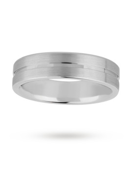 6mm Gents Titanium Wedding Ring With A Matte Finish And Engraved Line by Goldsmiths
