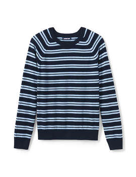 Men's Stripe Cotton Cashmere Crewneck Sweater by Lands' End
