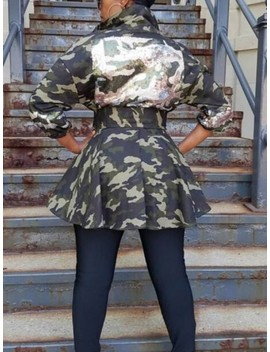 army-green-camouflage-sequin-sashes-turndown-collar-pockets-peplum-denim-casual-coat by cichic