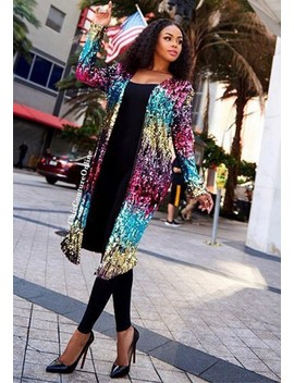 Colorful Sequin Spark Fashion Clubwear Cardigan Coat by Cichic