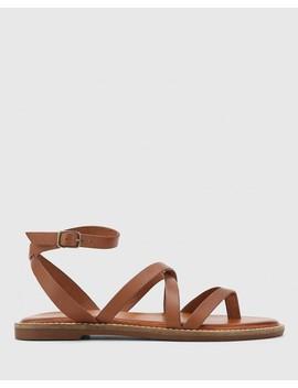 Cavani Tan Atanado Leather Flat Sandal by Wittner