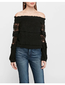 off-the-shoulder-lace-long-sleeve-top by express