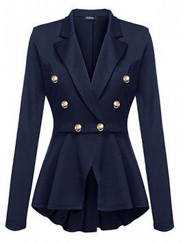 Blue Irregular Pleated Peplum Peacoat Double Breasted Turndown Collar Long Sleeve Office Blazer by Cichic