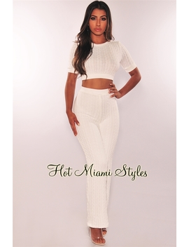 White Cable Knit High Waist Sweater Two Piece Set by Hot Miami Style
