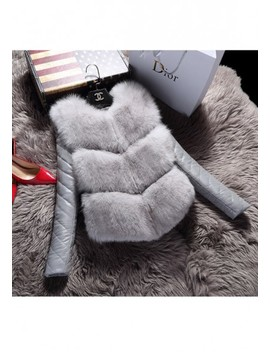 Grey Patchwork Irregular Fur Round Neck Long Sleeve Casual Coat by Cichic