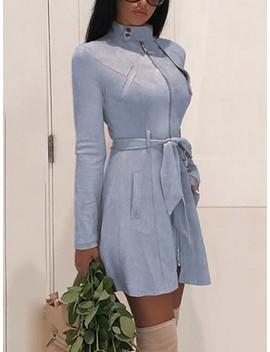 Blue Zipper Pockets Belt High Neck Long Sleeve Casual Coat by Cichic
