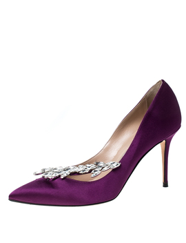 Manolo Blahnik Purple Satin Nadira Crystal Embellished Pointed Toe Pumps Size 37 by The Luxury Closet