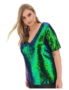 Iridescent Sequin V Neck Shell Top by Simply Be