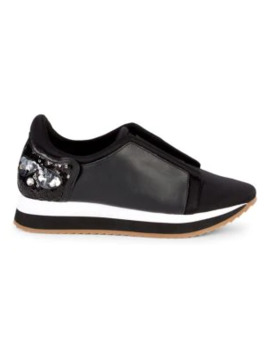 Embellished Leather Sneakers by Karl Lagerfeld Paris