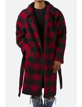 Plaid Military Trench Coat by Mnml