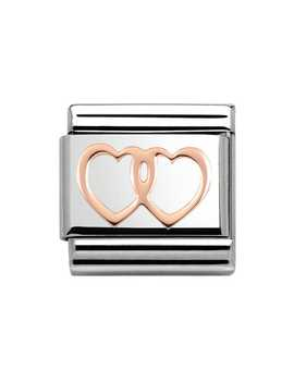 Steel & 9ct Rose Gold Double Hearts Charm by Nomination