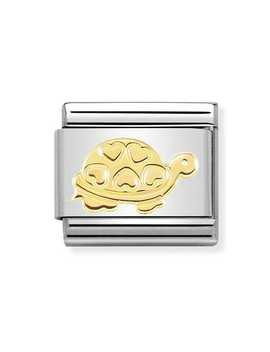 Classic 18ct Gold Turtle With Hearts Charm by Nomination