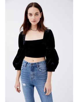 uo-collette-velvet-square-neck-blouse by urban-outfitters