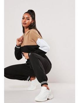 camel-colourblock-zip-front-jumpsuit by missguided