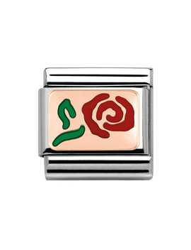 9ct Rose Gold & Red Enamel Rose Classic Charm by Nomination
