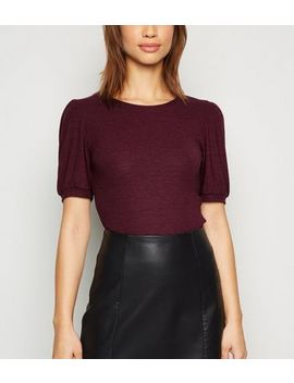 burgundy-puff-sleeve-ribbed-knit-t-shirt by new-look