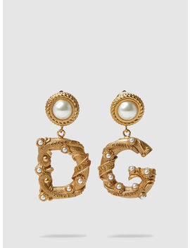gold-tone-faux-pearl-clip-earrings by ‎dolce-&-gabbana‎