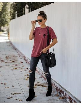 Bad To The Bone Distressed Cotton Tee by Vici