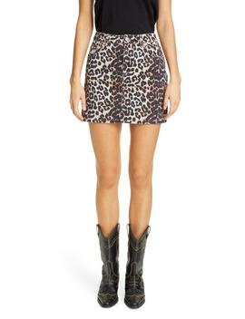 leopard-print-denim-miniskirt by ganni