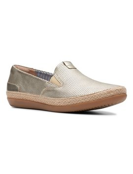 Champagne Danelly Iris Leather Slip On Espadrille Sneaker   Women by Clarks