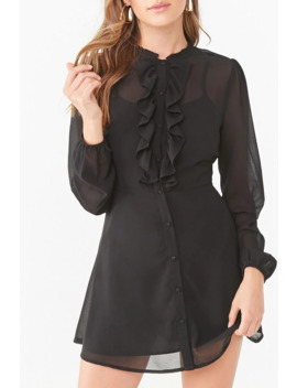 chiffon-ruffled-button-down-dress by forever-21