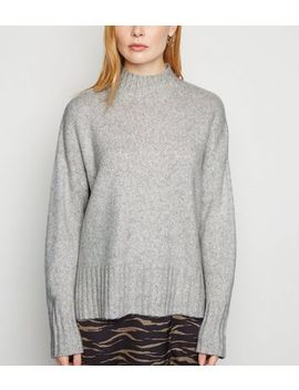 grey-ribbed-high-neck-jumper by new-look