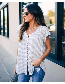 Lynsey Striped Button Down Tee by Vici