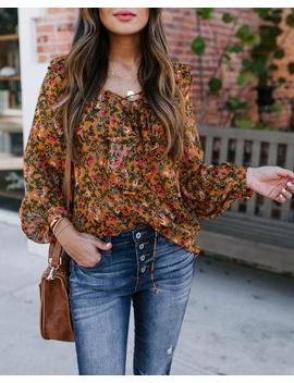 Sagrada Floral Lace Up Ruffle Blouse by Vici