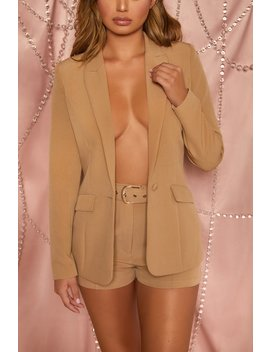 Unfinished Business High Waisted Belted Tailored Shorts In Tan by Oh Polly
