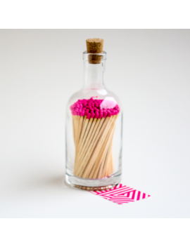 Long Luxury Neon Pink Matches In An Apothecary Glass Bottle Long Luxury Neon Pink Matches In An Apothecary Glass Bottle by Archivist