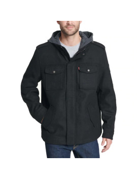 mens-levis®-wool-blend-four-pocket-hooded-military-jacket by levis