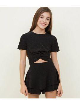 girls-black-glitter-frill-skort by new-look