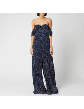 Self Portrait Women's Off The Shoulder Plumetis Jumpsuit   Navy by Self Portrait