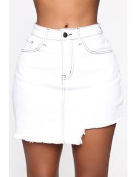 better-with-you-denim-skirt---white by fashion-nova