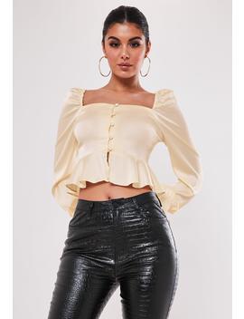 tall-cream-button-through-peplum-satin-blouse by missguided