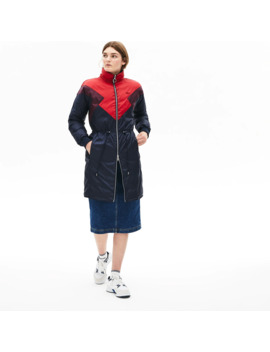 Women's Reversible Color Blocked Water Resistant Long Quilted Coat by Lacoste