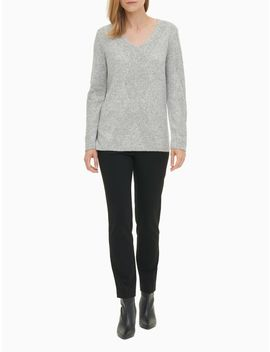 V Neck Center Stitch Long Sleeve Top by Calvin Klein