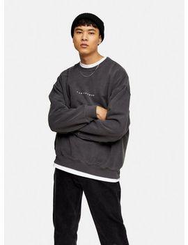 Christmas Black Wash Bah Humbug Sweatshirt by Topman