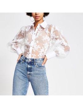 White Printed Organza Long Sleeve Shirt by River Island